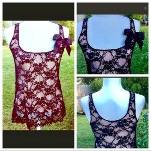 Vintage Julie's Closet Lace Blouse Bow Accent SALE